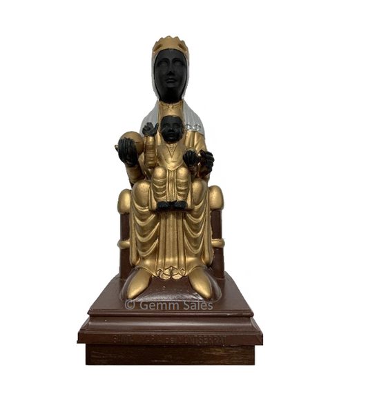 Vintage The Virgin Santa Maria of Montserrat Black Madonna with Baby Jesus, Music Box
