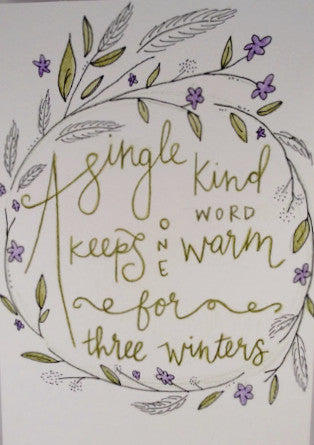 "Inspirational Quote ""A Single Kind Word"", Hand Painted by Casai Prints"