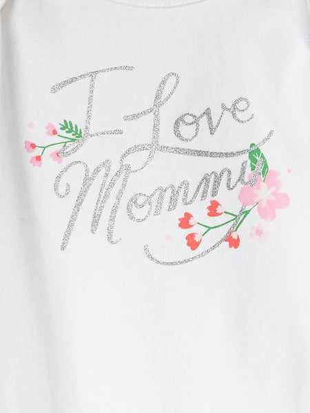Baby Gap Girl Embellished I Love Mommy Graphic Bodysuit