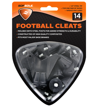 "Sof Sole Football Cleats - 1/2"" Black - 14 Cleats Pack"