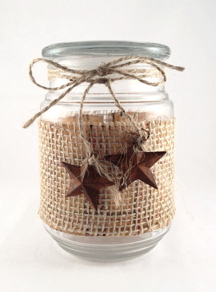 Country Style Jar with Rusted Primitive Star