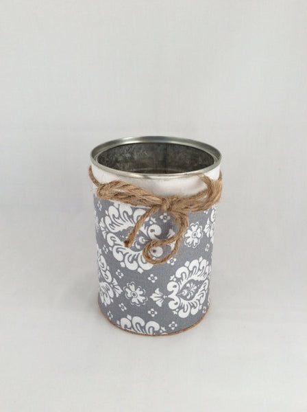 Desk Organizer, Tin Cans Hand Wrapped in Decorative Fabric and Twine