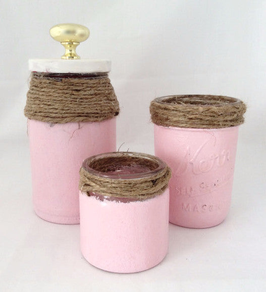 Vanity Organizer, Glass Bottles Set of 3 Pink Mason Jars, Shaby Chic