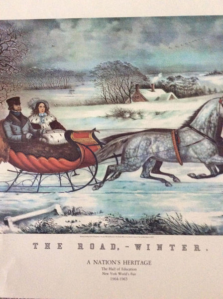 Nathaniel Currier, publisher (American, 1813-1888) The Road, Winter - Colored Lithograph