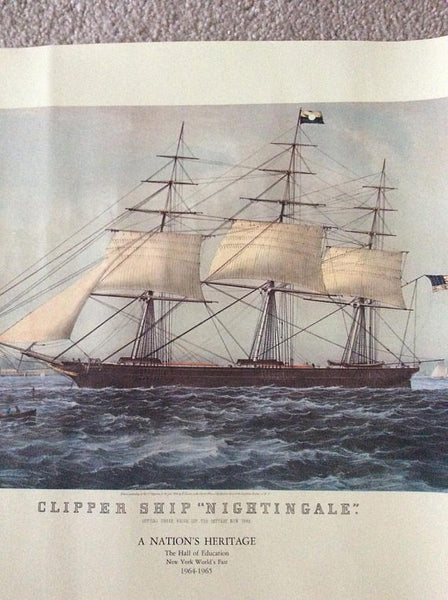 Nathaniel Currier, publisher (American, 1813-1888) Clipper Ship Nightingale, Colored Lighograph