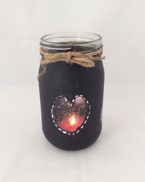 Mason Jar Hand Painted with Black Chalk Paint, Candle Holder