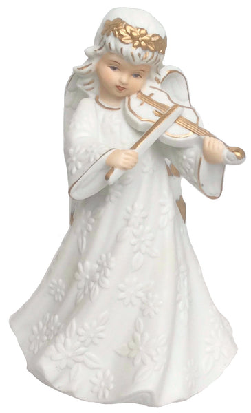 Porcelain Violin Angel Music Box