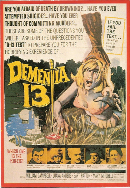 Dementia 13 Movie Postcard