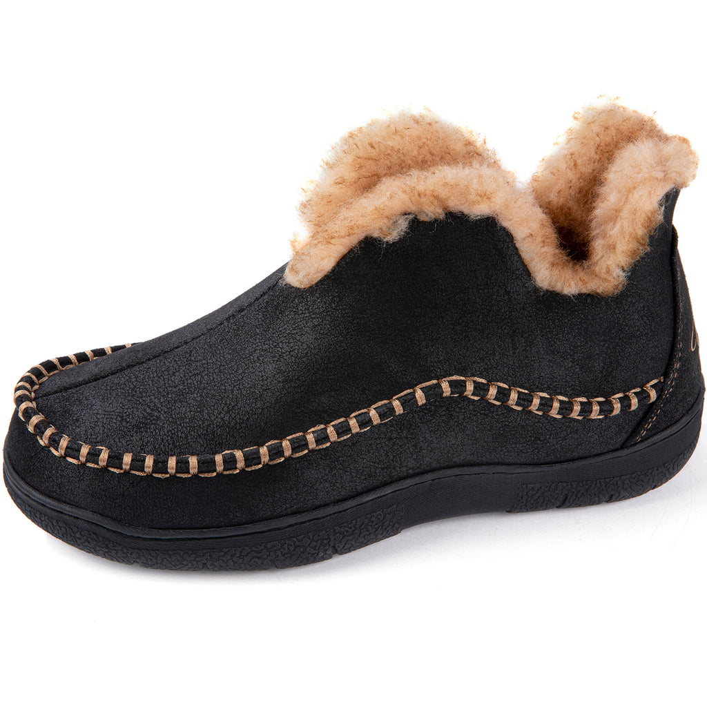 Wishcotton Men's Microsuede Fuzzy Warm Fleece Lining Moccasin Slippers Cozy Memory Foam Indoor Outdoor House Shoes