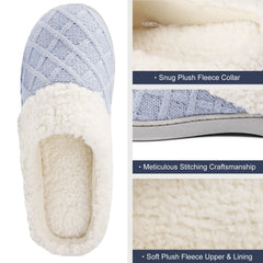 ULTRAIDEAS Women's Cozy Memory Foam Knit Slippers with Fuzzy Plush Wool-Like Lining