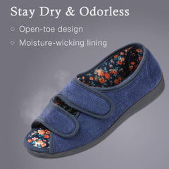 RockDove Women's Floral Lined Adjustable Slipper with Memory Foam