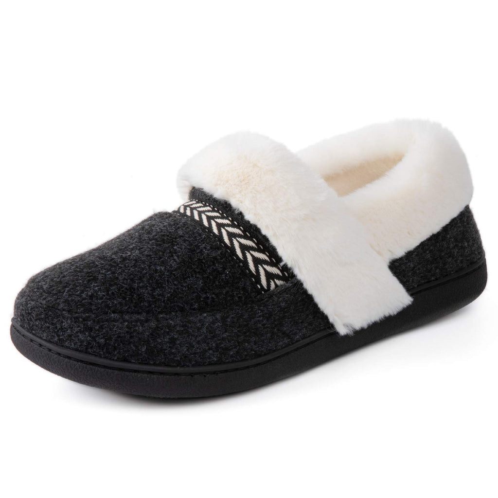 ULTRAIDEAS Women's Cozy Memory Foam Slippers with Fur Collar, Fleece Lining & Anti-Skid Rubber Sole