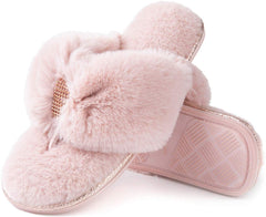 RockDove Women's Faux Fur Rhinestone Thong Slipper