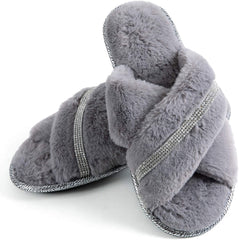 Women's Fuzzy Crossed Memory Foam Open Toe Slippers