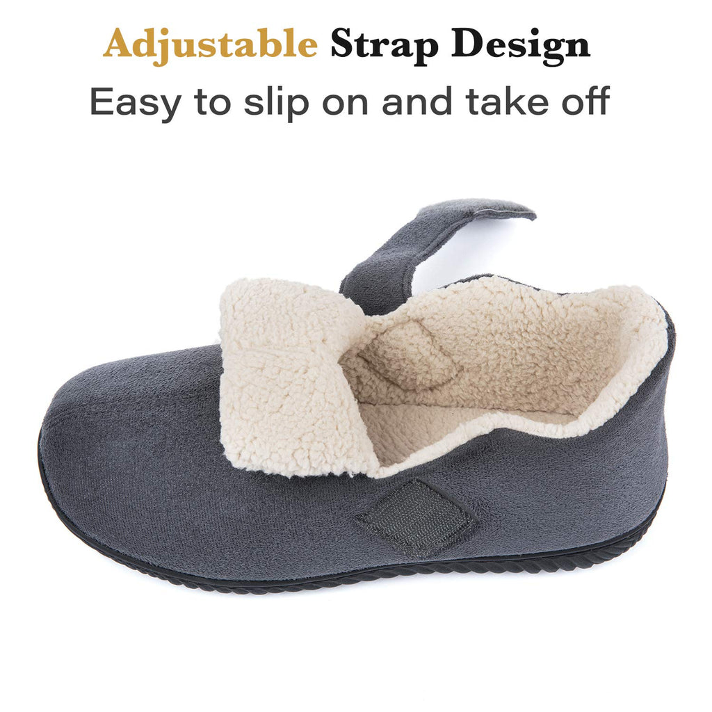 ZIZOR Men's Cozy Memory Foam Slippers with Adjustable Closure Strap