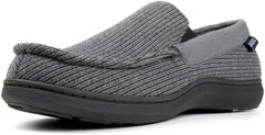 Men's Cozy Memory Foam Moccasin Slippers with Anti-Skid Indoor Rubber Sole