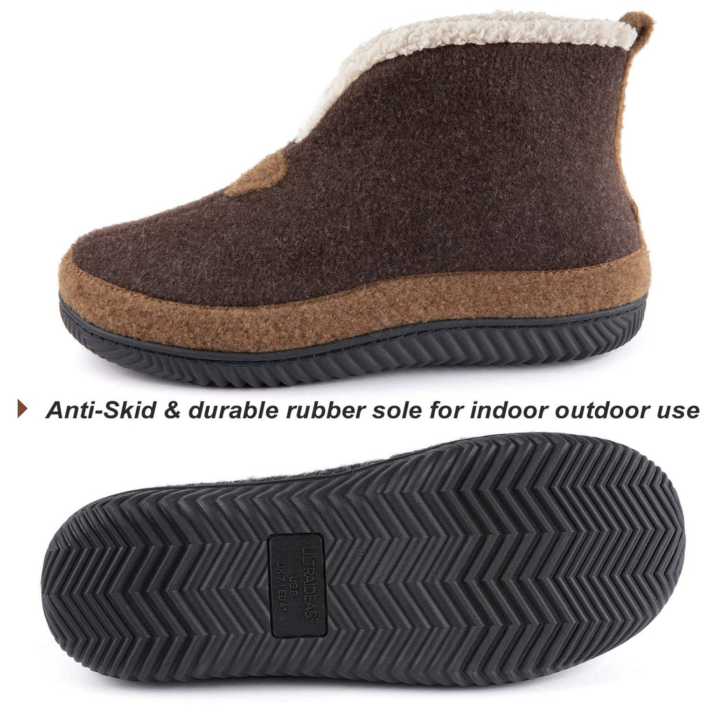 ULTRAIDEAS Men's Cozy Slippers with Memory Foam, Wool-Like Felt House Shoes with Anti-Slip Rubber Sole