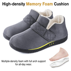 ZIZOR Men's Cozy Memory Foam Slippers with Adjustable Closure Strap, Fleece Lining Closed Back House Shoes with Anti-Slip Indoor Outdoor Rubber Sole
