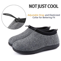 ULTRAIDEAS Men's Cozy Memory Foam Woolen Slippers with Elasticated Collar, Warm Closed Back House Shoes with Indoor Outdoor Anti-Skid Rubber Sole