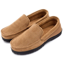 Men's Breathable Micro Suede Moccasins Slippers Plush Indoor/Outdoor Loafer Shoes