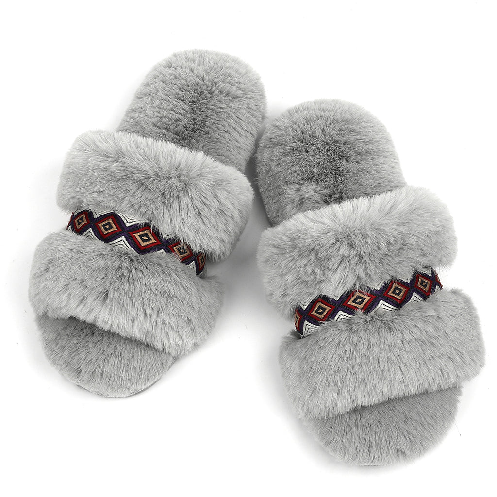 RockDove Women's Arizona Fuzzy Memory Foam Slide