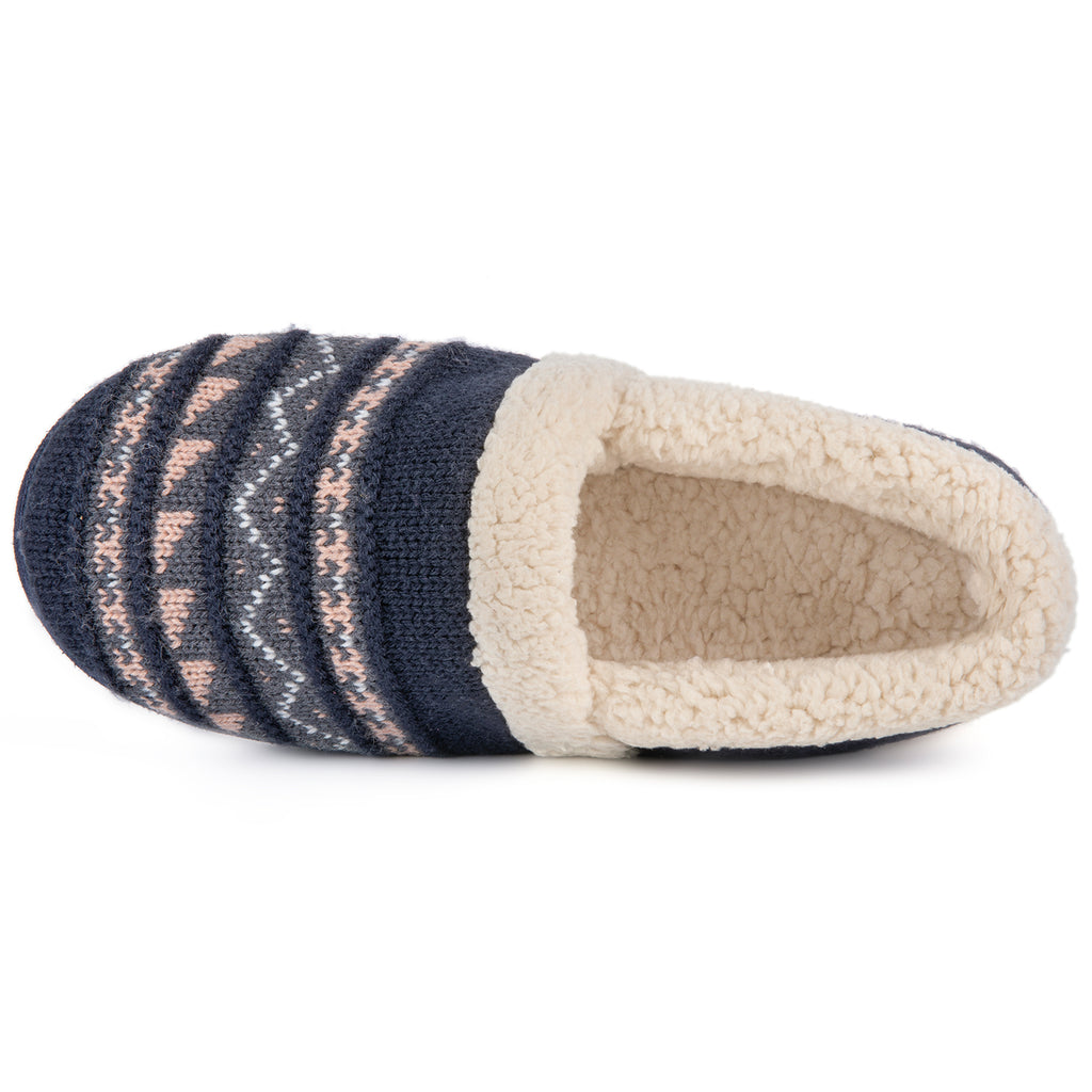 RockDove Women's Fair Isle Knit Memory Foam Slipper with Rubber Sole