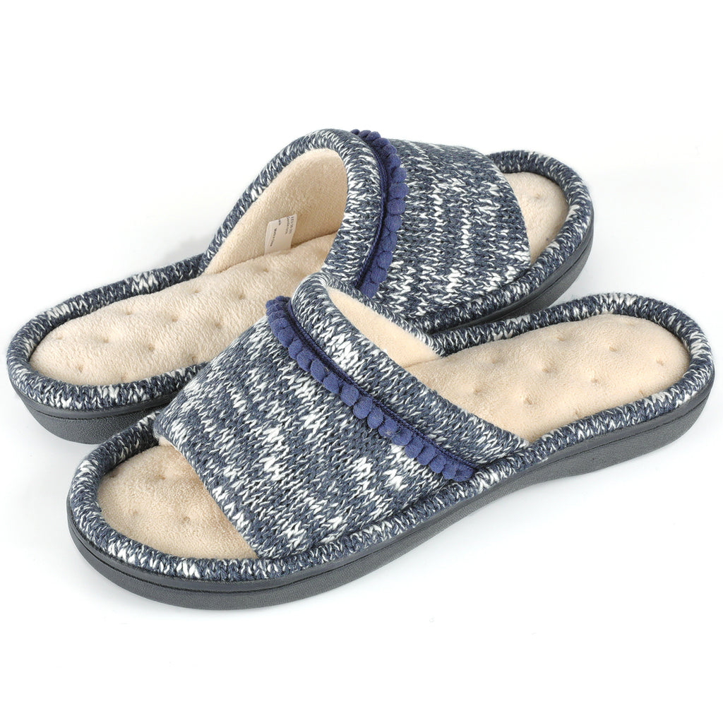 Women's Knitted Slide with Mini Pom Poms