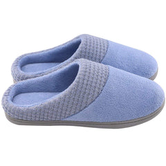 Women's Comfort Terry Cloth Memory Foam Slippers Knit Collar