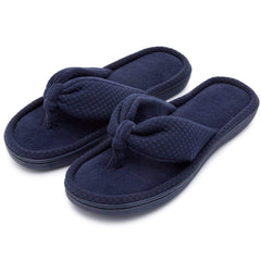 Women's Cozy Velvet Spa Thong Flip Flops Clog House Indoor Slippers