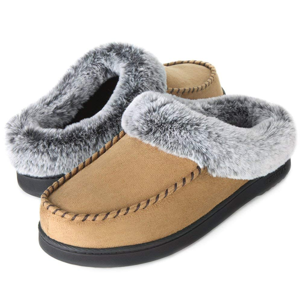 Women's Comfort Moccasin Suede Slippers Non-skid House Shoes Fur Collar