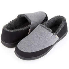 Zigzagger Men's Closed Back Wool Moccasin Slippers Indoor Outdoor House Shoes