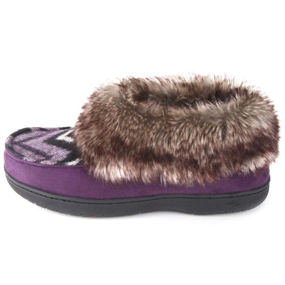 Zigzagger Women's Chevron Print Slipper Bootie with Fur Collar