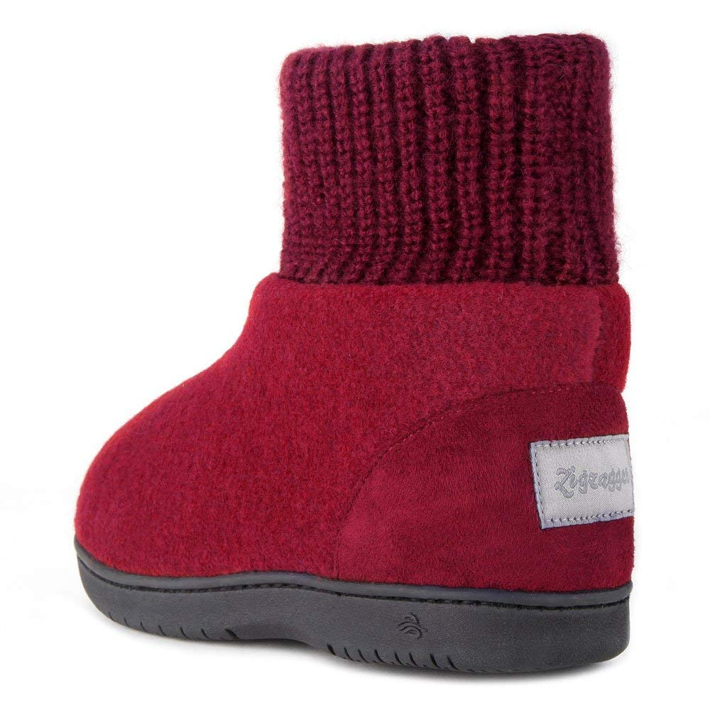 Zigzagger Women's Wool Bootie Slippers Fleece Knit Collar House Shoes