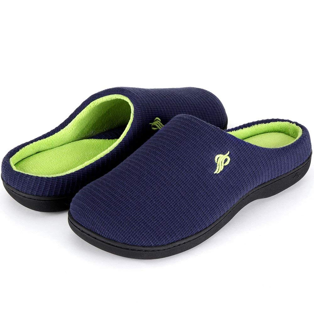 Wishcotton Two-Tone House Slippers for Men Indoor Outdoor Non Skid Sole