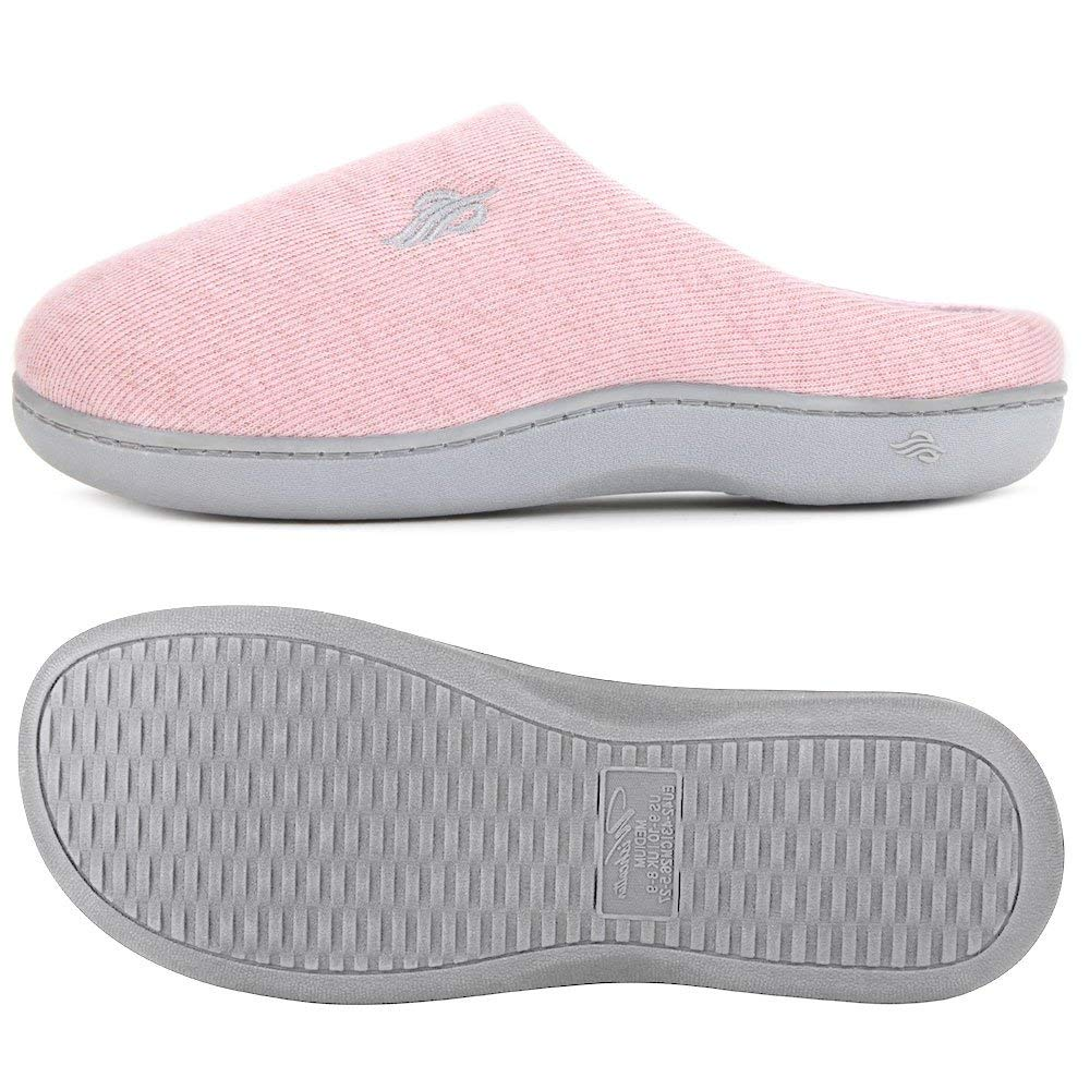 Wishcotton Women's Waffle Knit Two-Tone Slipper Indoor Shoes