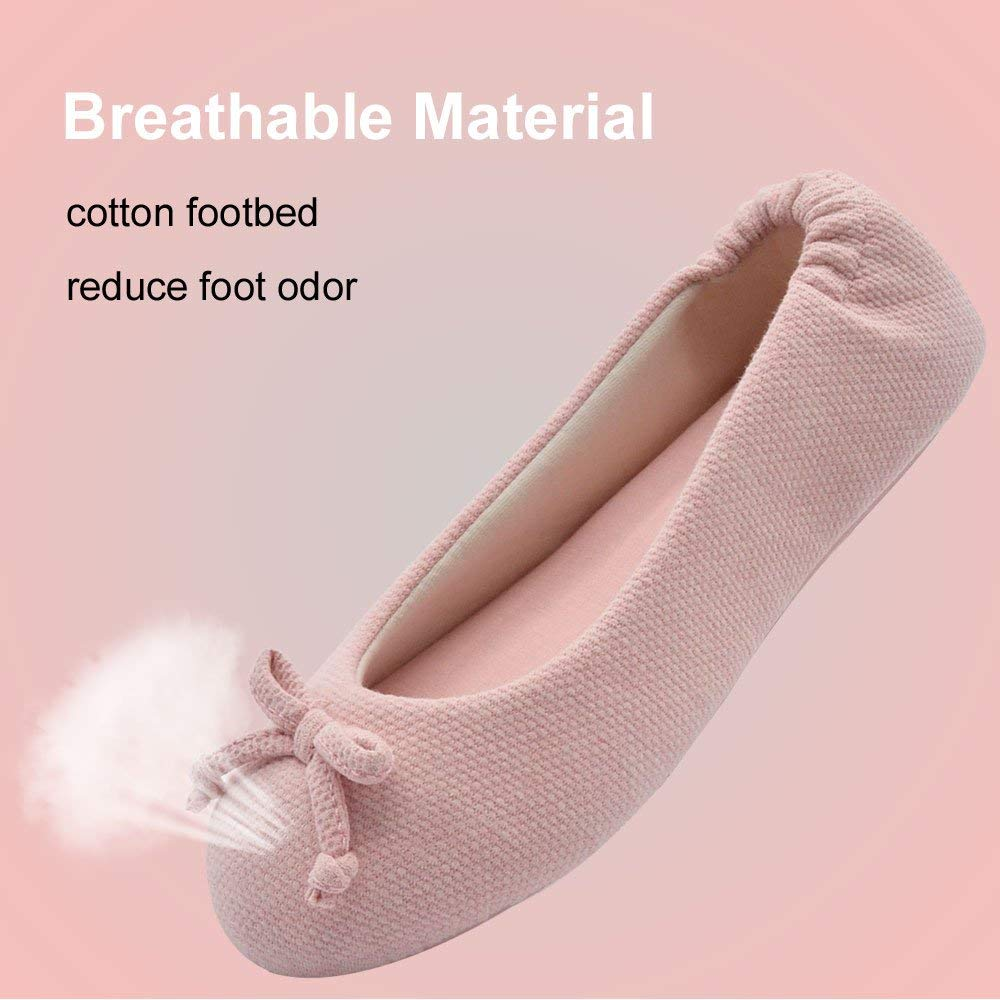 Wishcotton Women's Breathable Ballerina Slippers Anti Skid House Shoes