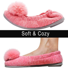 Wishcotton Cozy Portable Ballerina Slippers for Women Indoor Outdoor Nonslip Rubber Sole