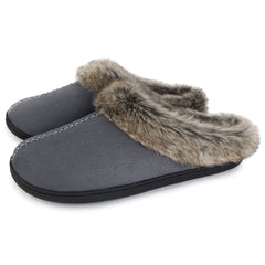ULTRAIDEAS Men's Micro Suede Clog Slippers Indoor House Shoes w/Warm Faux Fur Collar