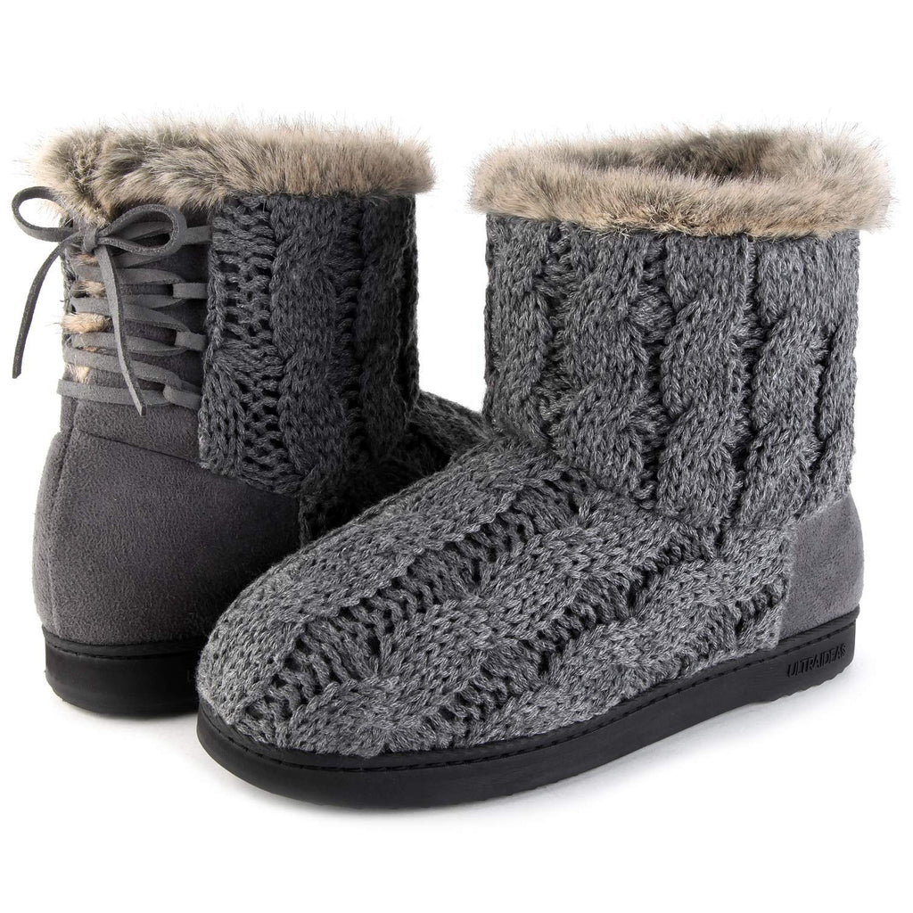 Women's Soft Yarn Cable Knit Bootie Slippers Indoor & Outdoor Shoes