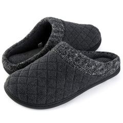 RockDove Men's Comfort Memory Foam Slippers Ribbed Hand Knit Collar Clog House Shoes