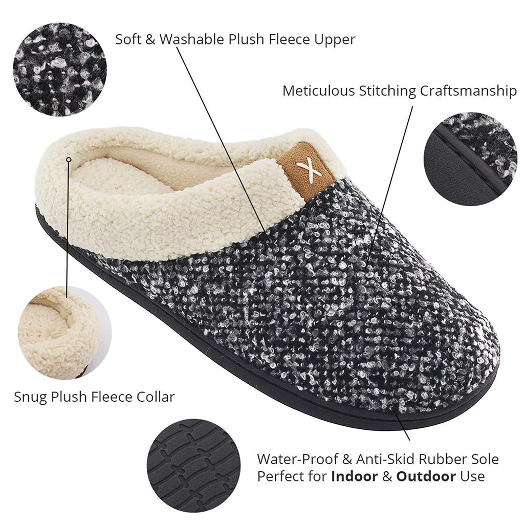 Men's Comfort Memory Foam Slippers Wool Plush Fleece House Shoes