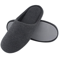 ULTRAIDEAS Men's Comfort Cotton Slippers Closed Toe Indoor Shoes with Non-Slip Sole