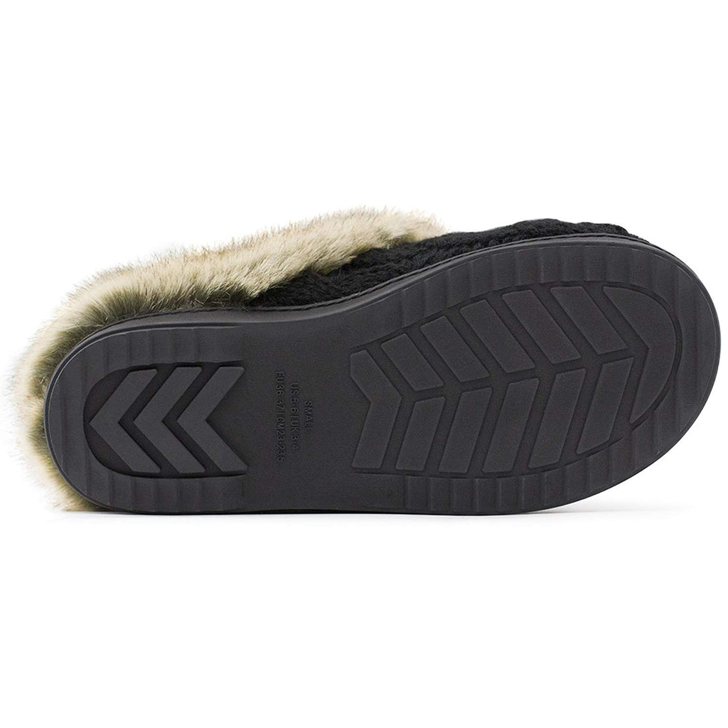 Women's Soft Knit Slippers Anti Skid House Shoes Fur Collar Indoor Outdoor