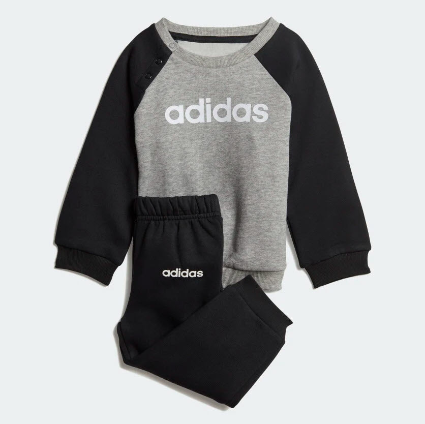 Adidas Infant Linear Fleece Jogger Set Medium Grey Heather  Black  White DV1266 - UNISEX KIDS TRAINING Sportstar Pro Newcastle, 2300 NSW. Australia. 1