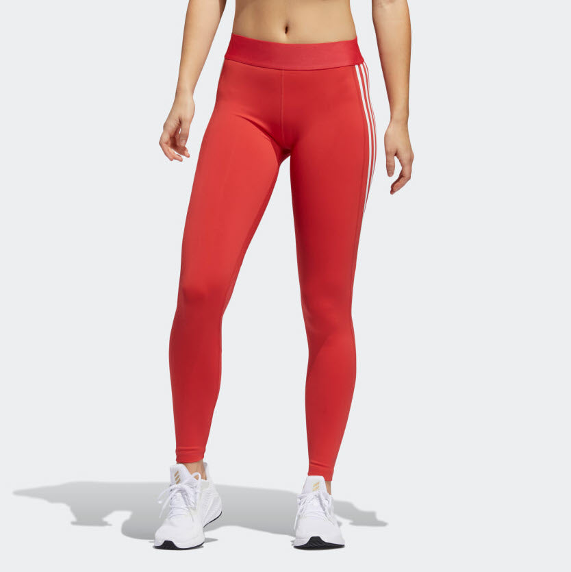 Adidas Alphaskin 3-Stripe Long Tights Glory Red FL2052 Sportstar Pro Newcastle, 2300 NSW. Australia. 1