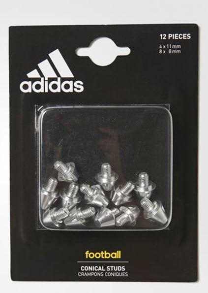 Adidas Conical Studs Football AP0246 These football studs are easily exchangeable so you can customise your grip on the pitch. This pack comes with 12 aluminium replacement studs designed to fit ACE and X soft ground boots. 12 studs per pack Sizes: 4 x 11 mm; 8 x 8 mm Compatible with X and ACE soft ground football boot Sportstar Pro. 519 Hunter Street Newcastle, 2300 NSW. Australia.
