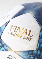 Adidas Finale Cardiff 2017 Official Match Ball White/Cyan AZ5200 Keep pressure on the defense with this soccer that honors the 2017 UEFA Champions League Final in Cardiff. It includes a seamless surface for true flight, reliable touch and low moisture uptake. Tested and approved by FIFA. Thermally bonded seamless surf Sportstar Pro. 519 Hunter Street Newcastle, 2300 NSW Australia