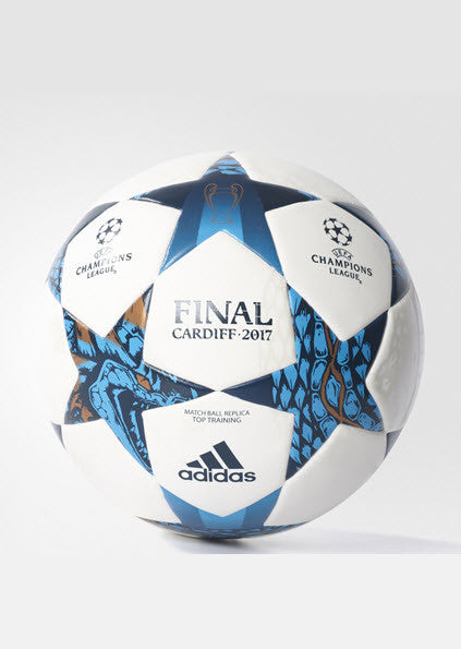 Adidas Finale Cardiff 2017 Match Ball Replica Top Training Soccer Ball White/Cyan AZ9609 Work the give and go with this high-quality soccer ball. It has a seamless surface for true flight, reliable touch and low water uptake. This durable ball features logos that honor the 2017 UEFA Champions League final in Cardiff Sportstar Pro. 519 Hunter Street Newcastle, 2300 NSW Australia