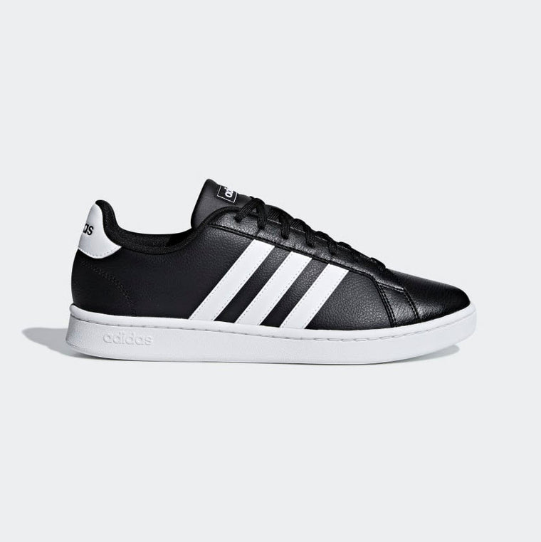 Adidas Grand Court Shoes Black White F36393