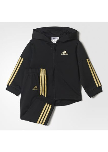 Adidas Kids Shiny Hooded Jogger Set Black/Gold Metallic CE9705 - Kids Training. Sportstar Pro. 519 Hunter Street Newcastle, 2300 NSW. Australia